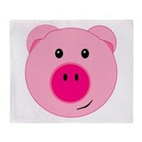 Cute Pink Pig Throw Blanket