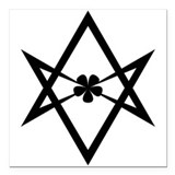 "Unicursal hexagram (Black) Square Car Magnet 3"" x"