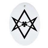 Unicursal hexagram (Black) Ornament (Oval)