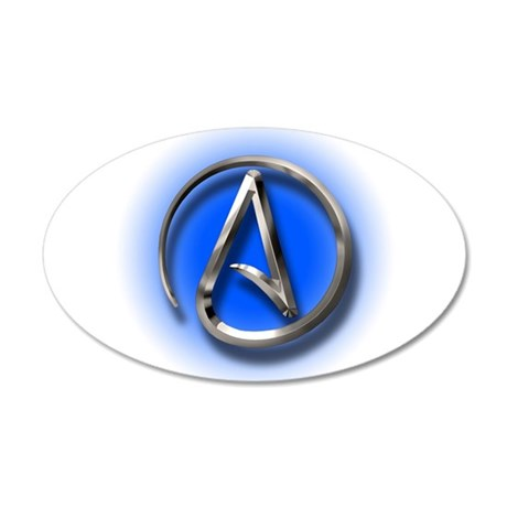 Atheist Logo (blue) 35x21 Oval Wall Decal