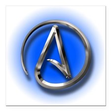 "Atheist Logo (blue) Square Car Magnet 3"" x 3"""