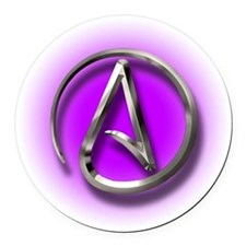 Atheist Logo (purple) Round Car Magnet