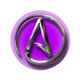 "Atheist Logo (purple) 3.5"" Button"
