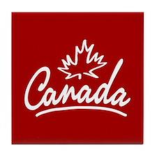 Canada Leaf Script Tile Coaster