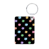 Rainbow Pig Pattern on Black Aluminum Photo Keycha