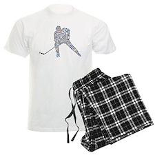 Hockey Player Typography Pajamas