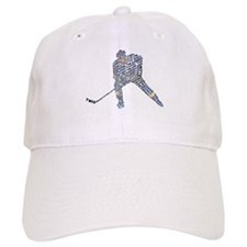 Hockey Player Typography Baseball Cap