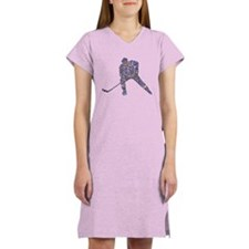 Hockey Player Typography Women's Nightshirt