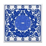 Blue & White Ming Porcelain Look Tile Coaster