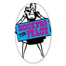 PEACE HOOKER Oval Decal