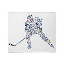 Hockey Player Typography Throw Blanket
