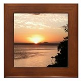 Biscayne Bay Sunset Framed Tile Photo by KD