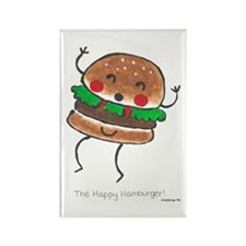 Happy Hamburger Rectangle Magnet (100 pack)