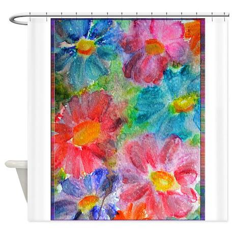 art bathroom d cor flowers bright floral art shower curtain