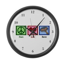 Peace Love Bacon Large Wall Clock