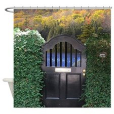 Autumn lake gate Shower Curtain