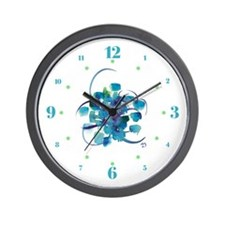 Atom Sea #9 Wall Clock with hours II
