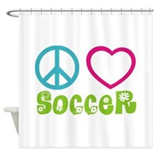 Peace Love Soccer Shower Curtain