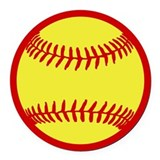 Softball Red Round Car Magnet