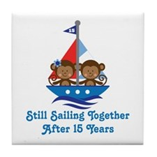 15th Anniversary Sailing Tile Coaster