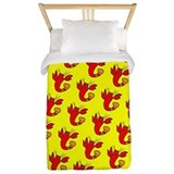 Red Cute Lobster Dance Designer Twin Duvet Bedding