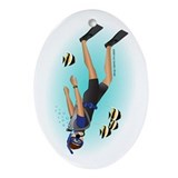 Scuba man brunette Ornament (Oval)