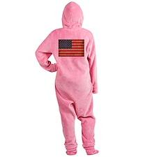 Vintage America Flag Footed Pajamas