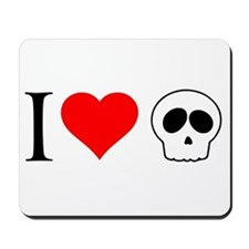 i heart skull Mousepad