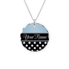 Black Polka Dot Blue Necklace
