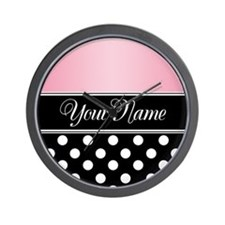 Black Polka Dot Pink Wall Clock
