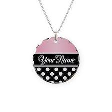 Black Polka Dot Pink Necklace