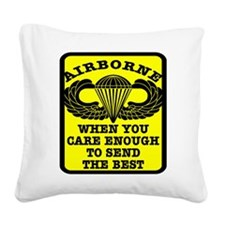 wht_Airborne_Send_Best.png Square Canvas Pillow