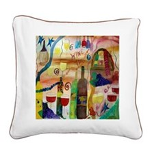 Wine Time Square Canvas Pillow