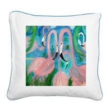 Flamingo Party Square Canvas Pillow