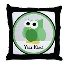 Funny Cute Green Owl Throw Pillow
