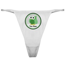 Funny Cute Green Owl Classic Thong
