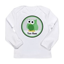Funny Cute Green Owl Long Sleeve Infant T-Shirt