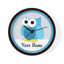 Funny Cute Blue Owl Wall Clock