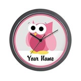 Funny Cute Pink Owl Wall Clock