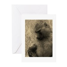 sepia thoughtful baboon Greeting Cards (Pk of 10)
