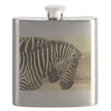 sepia zebras play kenya collection Flask