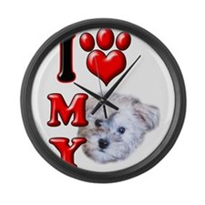 I Love My Schnoodle.png Large Wall Clock