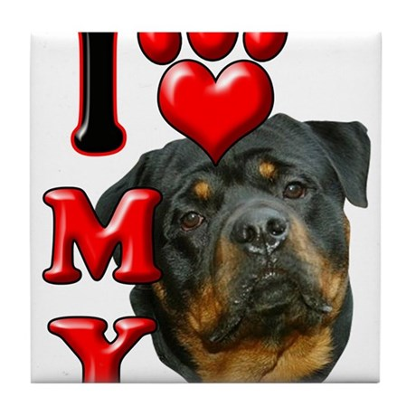I Love My Rottweiler.png Tile Coaster