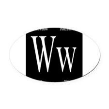 White Widow Black Oval Car Magnet