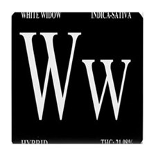 White Widow Black Tile Coaster