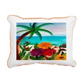 Tropical Floral Beach Rectangular Canvas Pillow