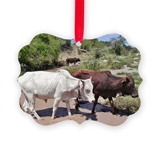 maasai cattle at water kenya collection Ornament
