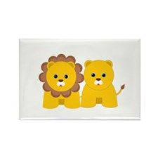 Baby Lion and Lioness Rectangle Magnet (10 pack)