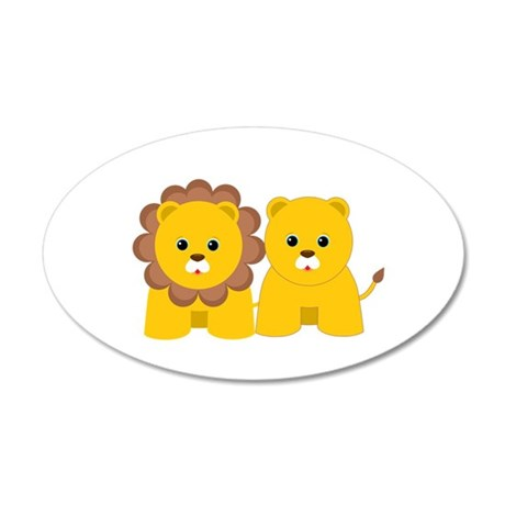 Baby Lion and Lioness 20x12 Oval Wall Decal