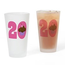 20th Birthday Cupcake Drinking Glass